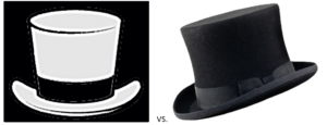 illustration of white hat and black hat