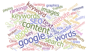 Several of the words used in this article: Google, content, keyword, medical writer, search engine optimization